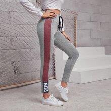 Leggings mit Band, breitem Taillenband und Buchstaben Grafik