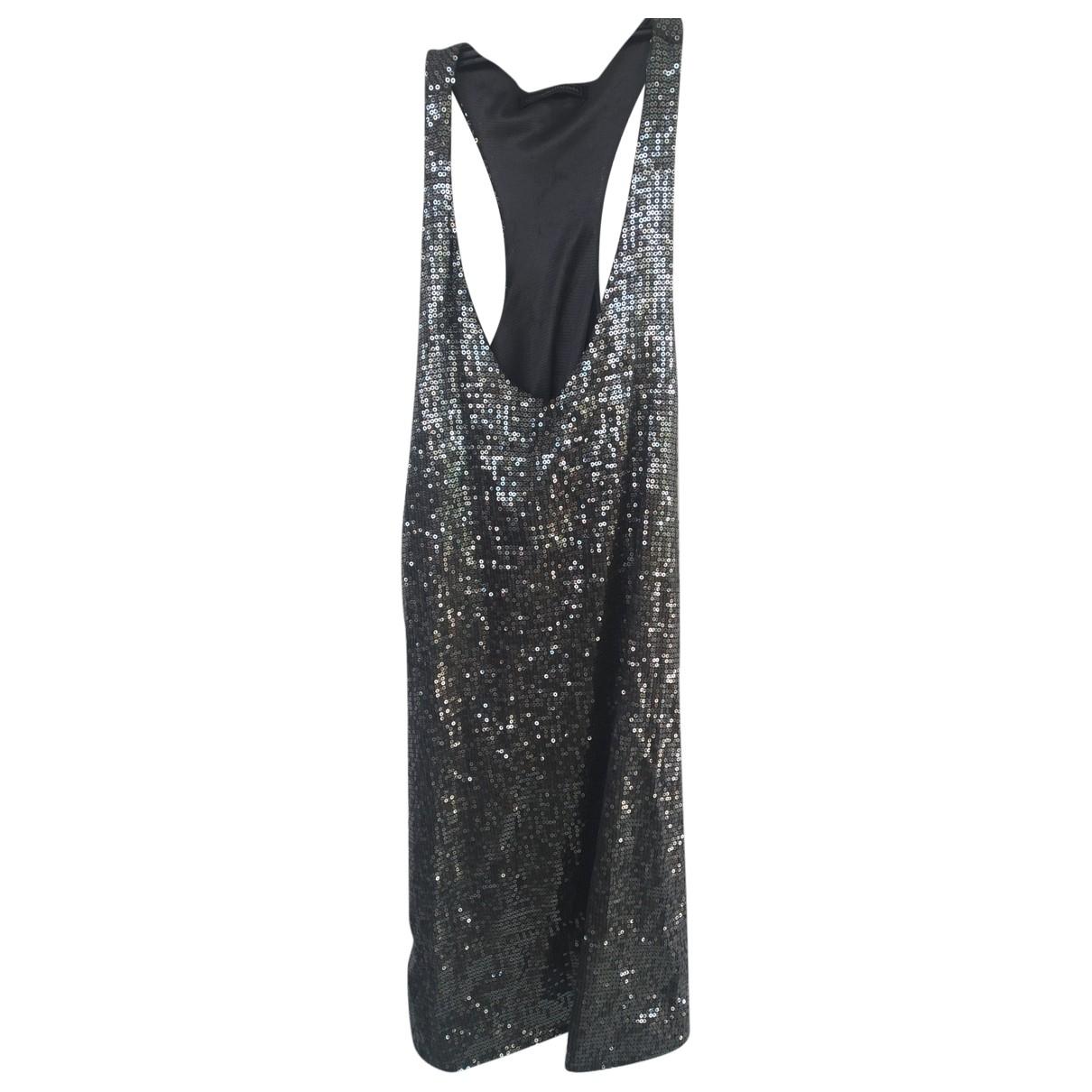 Non Signe / Unsigned Epaulettes Kleid in  Silber Mit Pailletten
