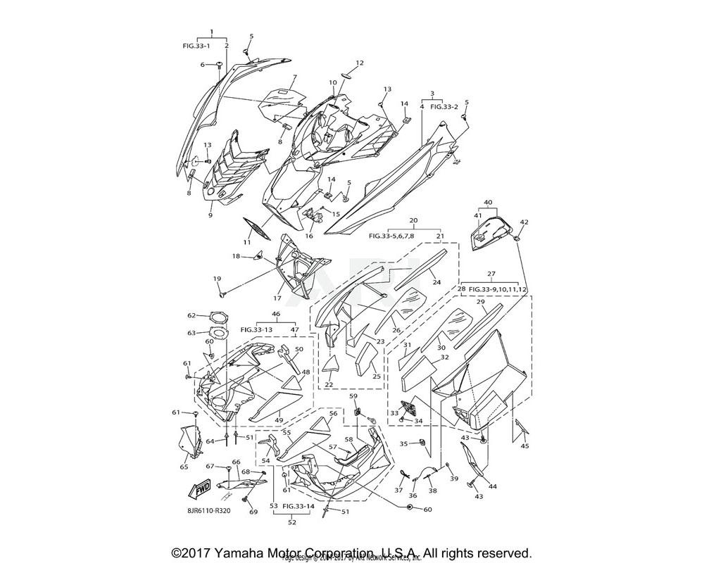 Yamaha OEM 8JW-K810G-40-00 SIDE PANEL COMP. (R.H) | UR FOR VRC1
