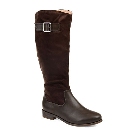 Journee Collection Womens Frenchy Extra Wide Calf Stacked Heel Zip Riding Boots, 10 Medium, Brown