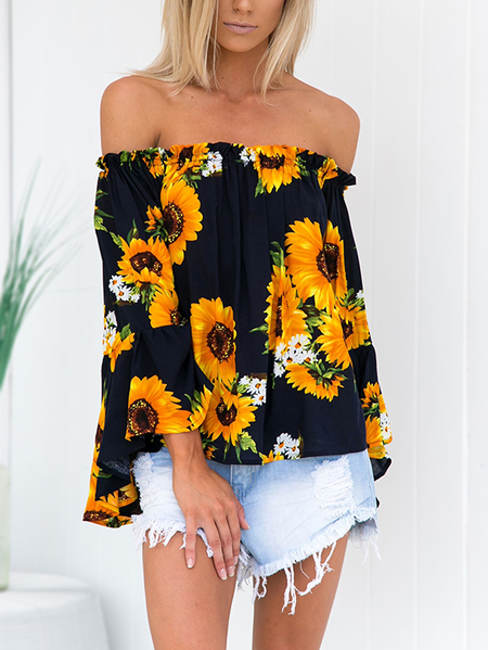 Yoins Random Sunflowers Floral Print Off Shoulder Flared Sleeves Blouse