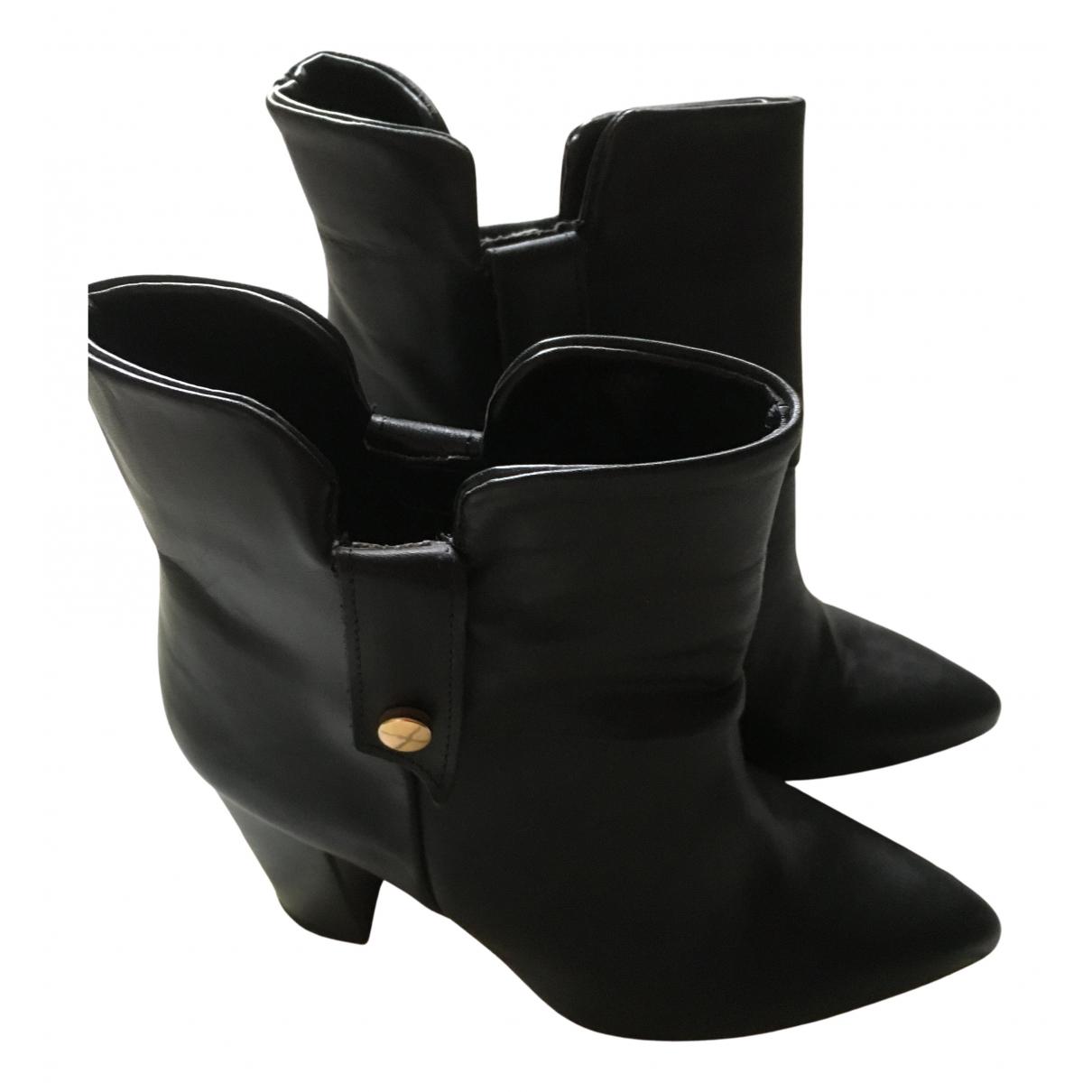Mango - Boots   pour femme en cuir - noir