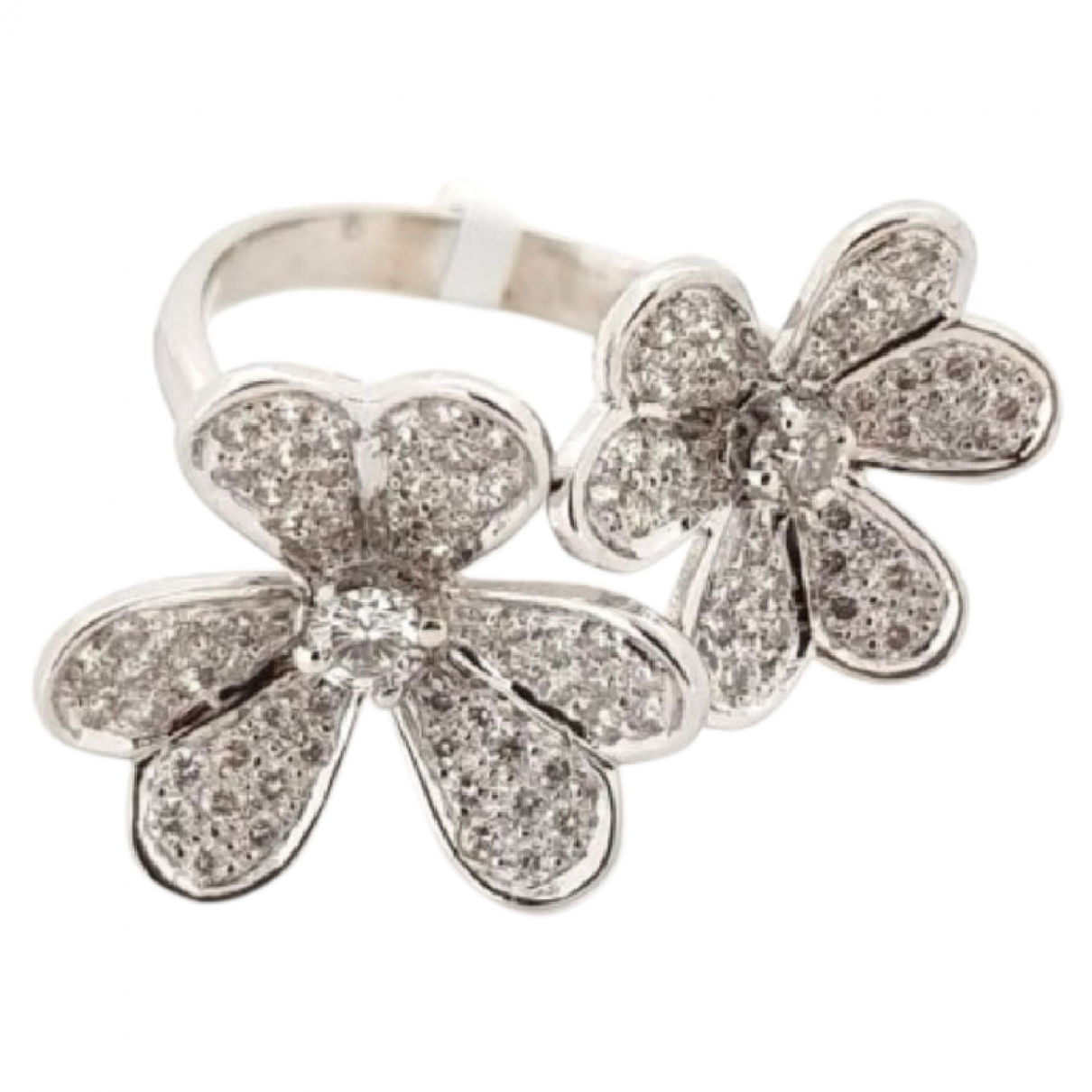 Non Signe / Unsigned Motifs Floraux Ring in  Weiss Weissgold