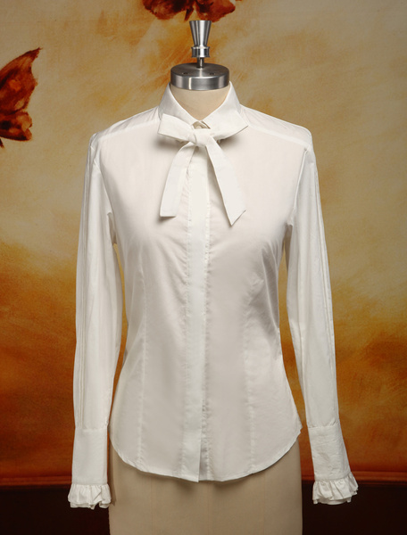 Milanoo Hime Ecru White Long Sleeves Chiffon Lolita Blouse
