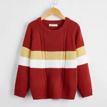 Boys Colorblock Raglan Sleeve Sweater