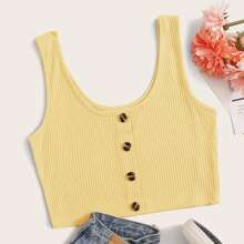 Button Front Ribbed Crop Tank Top