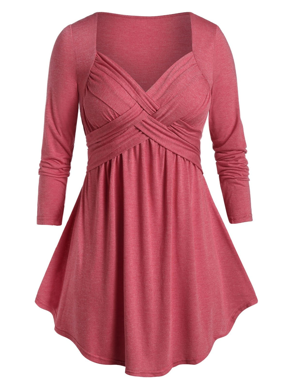 ROSEGAL Plus Size Marled Sweetheart Collar T Shirt