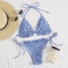 Ditsy Floral Frill Trim Tie Side Bikini Swimsuit