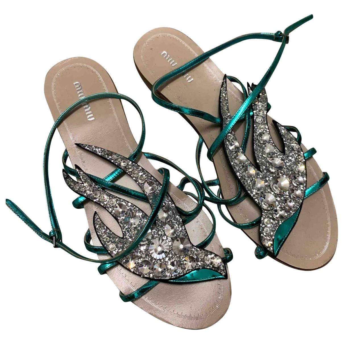Miu Miu - Sandales   pour femme en cuir - turquoise