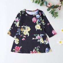 Toddler Girls Floral Print Tee Dress