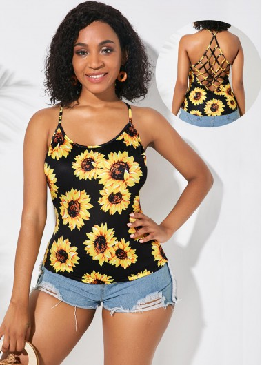 Lattice Back Spaghetti Strap Sunflower Print Camisole Top - L