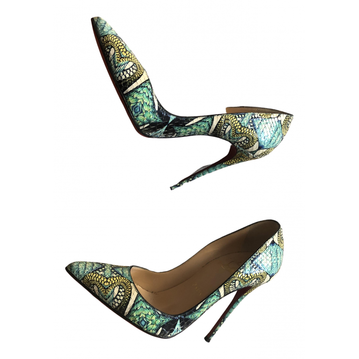 Christian Louboutin - Escarpins So Kate  pour femme en python - vert