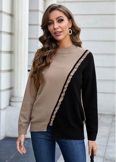 Trendy Flounce Contrast Round Neck Long Sleeve Sweater - S