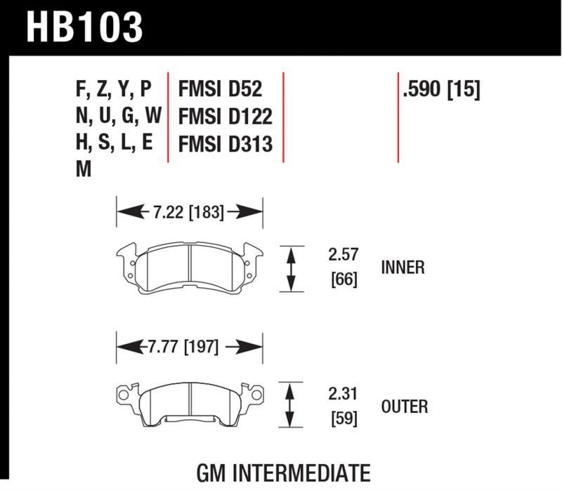 Hawk Performance HB103W.590 Disc Brake Pad