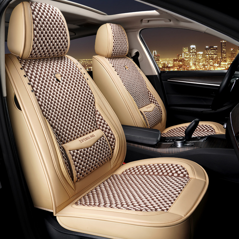 Polka Dots PU Sport Cotton Seat Cover Full Coverage Soft Wear-Resistant Durable Skin-Friendly Man-Made PU Leather And Ice Silk Materia Airbag Compatib