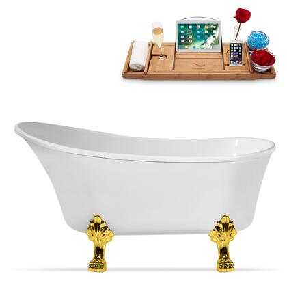 N349GLD-IN-ORB 67 Clawfoot Tub and Tray with Rubbed Oil Bronze Internal Drain   Gold Feet and Glossy White