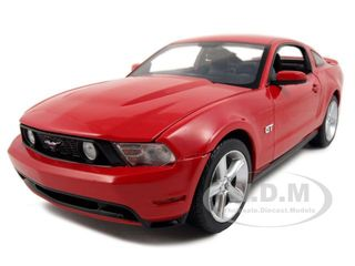 2010 Ford Mustang GT Coupe Torch Red With Charcoal Black Interior With Cashmere White Stripes 1/18 Diecast Car Model by Greenlight