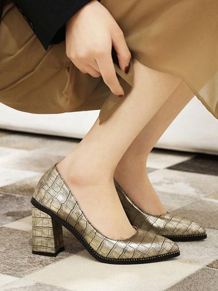 Milanoo Zapatos de tacon alto para mujer Zapatos de tacon grueso con punta puntiaguda en rojo oscuro Bombas sin cordones de PU