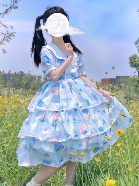 Milanoo Sweet Lolita OP Dress Bear Short Sleeves Sailor Lolita One Piece Dresses