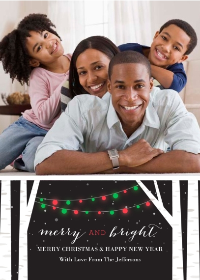 Christmas Photo Cards 5x7 Cards, Premium Cardstock 120lb, Card & Stationery -Birch Tree Lights