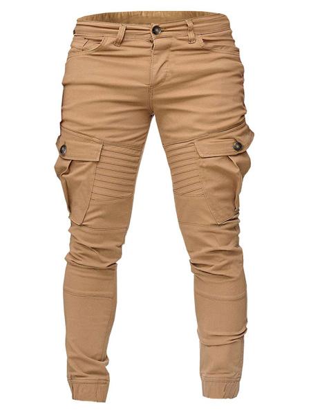 Milanoo Men\s Trousers Natural Waist Straight Black Men\\s Pants