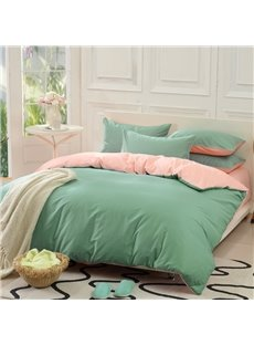 Solid Green and Light Pink Color Blocking Cotton 4-Piece Bedding Sets/Duvet Cover