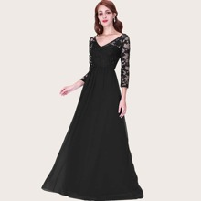 Sheer Embroidered Mesh Bodice Prom Dress