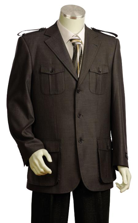 3 Button Rust Zoot Suit Mens