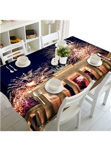 Splendid Fireworks Scenery Prints Washable Dining Room Decoration 3D Tablecloth