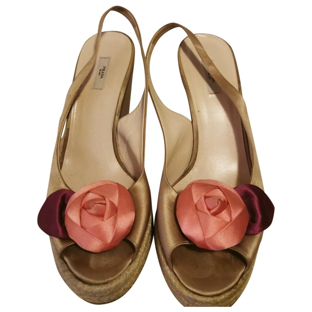 Prada \N Beige Cloth Sandals for Women 41 EU