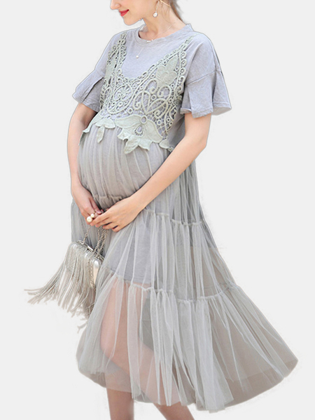 Yoins Round Neck Stitching Design Mesh Maternity Dresses in Grey