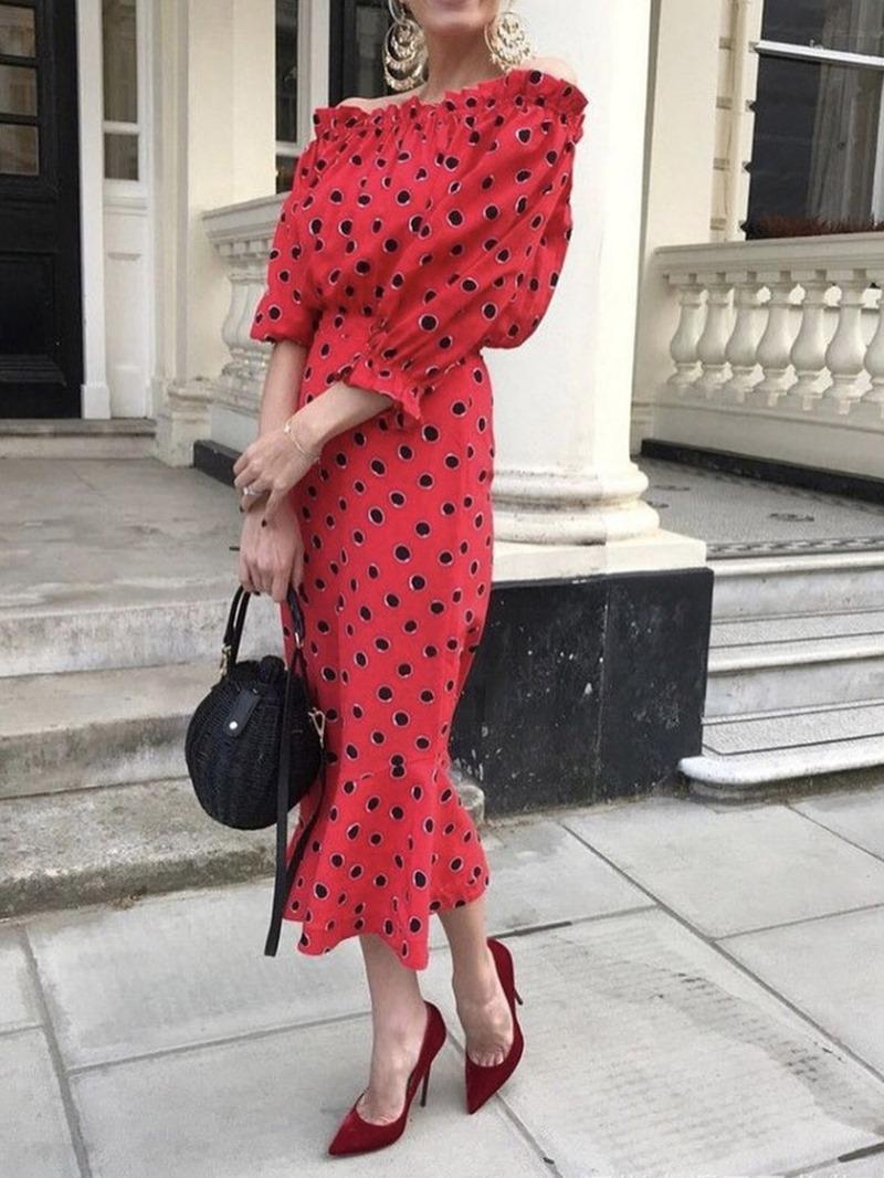 Ericdress Polka Dots Off Shoulder Ruffled Date Night Dress