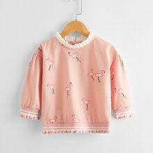 Toddler Girls Flamingo Print Frill Trim Sweatshirt