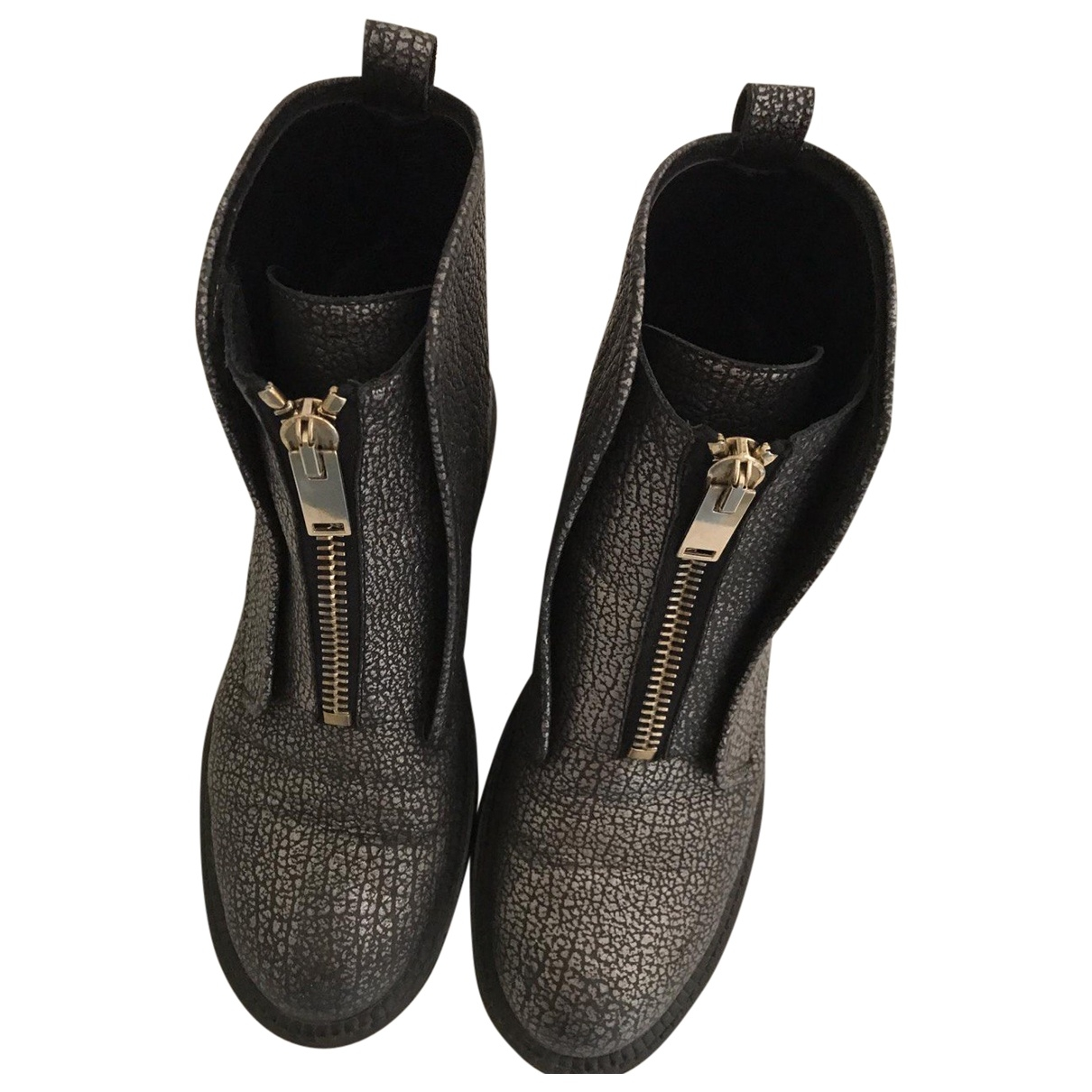 Grey Mer \N Metallic Leather Ankle boots for Women 39 EU
