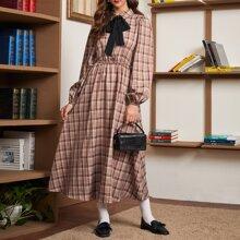 Contrast Bow Tie Front Lantern Sleeve Plaid Dress
