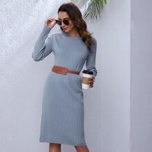 Strick Pulloverkleid ohne Guertel