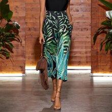 Pantalones capris tropical de pierna ancha bajo de doblez