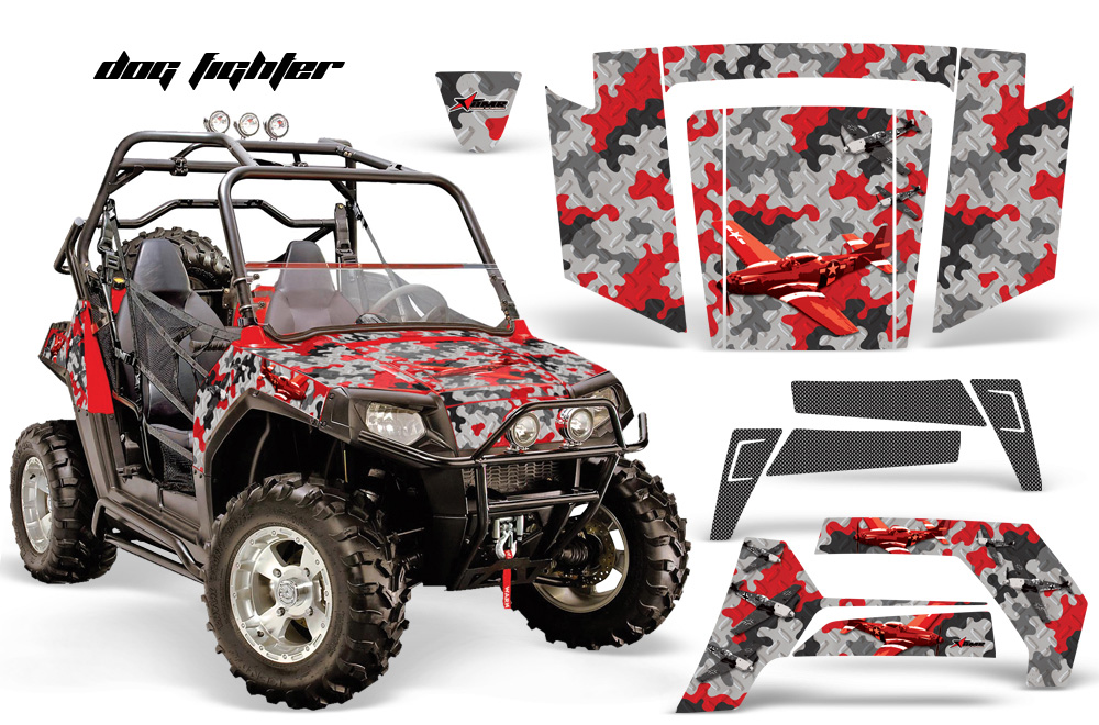 AMR Racing Full Custom UTV Graphics Decal Kit Wrap Dogfight Red Polaris RZR 800 06-10