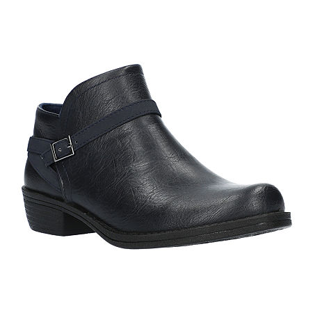 Easy Street Womens Peony Booties Block Heel, 7 Wide, Blue
