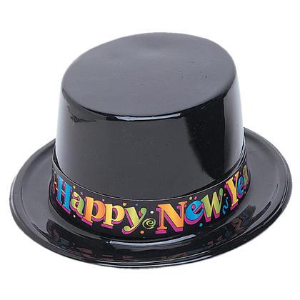 Black New Years Plastic Top Hat, Bulk
