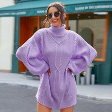 Turtleneck Lantern Sleeve Ribbed Knit Dress Without Belt