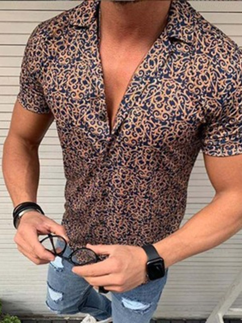 Ericdress Lapel Floral Print Single-Breasted Mens Summer Shirt