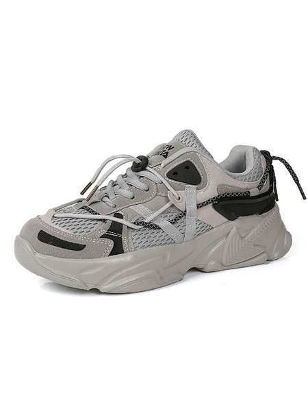 Milanoo Mens Sneakers Cozy Mesh Round Toe Color Block Low Tops Men\s Shoes