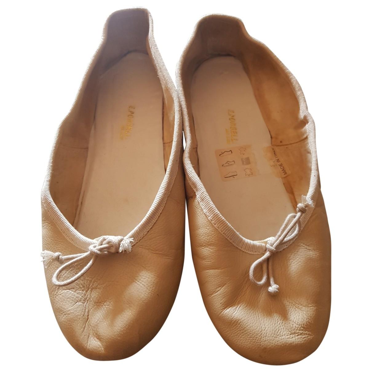 E Porselli - Ballerines   pour femme en cuir - beige