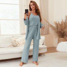 3pcs Marled Cami Pajama Set & Robe