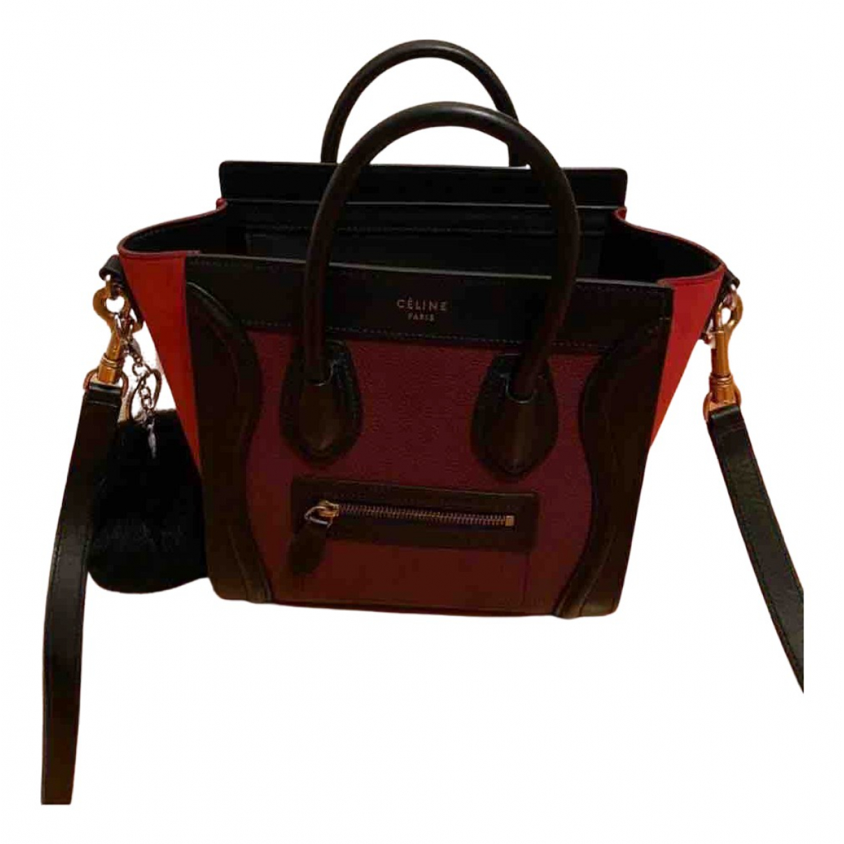 Celine Nano Luggage Handtasche in  Bordeauxrot Leder