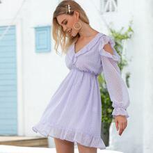D&M Kleid mit Band hinten, Raffungsaum und Punkten Muster