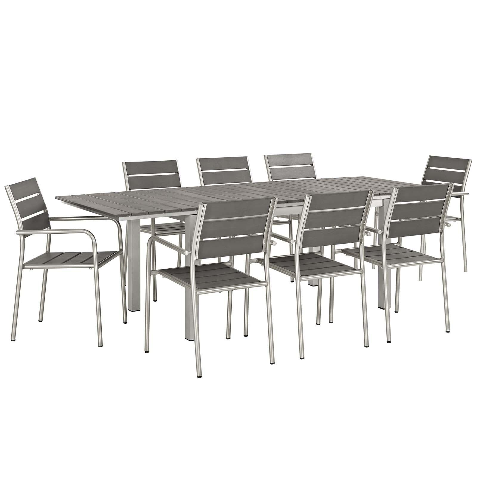 Shore 9 Piece Outdoor Patio Aluminum Outdoor Dining Set in Silver Gray