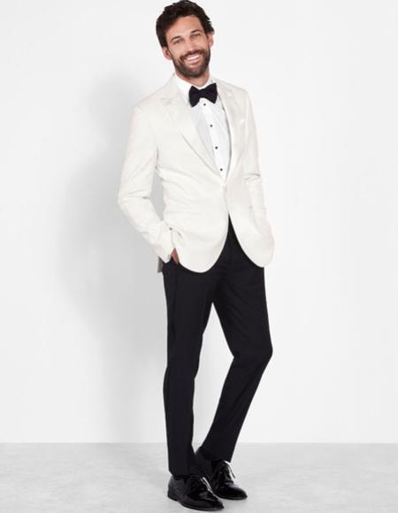 Mens Ivory Peak Dinner Jacket Slim Fit Wool Blazer Cream Off White
