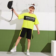Girls Neon Lime Slogan Graphic Top & Shorts Set